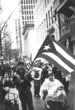Puerto Rican flag at head of march
